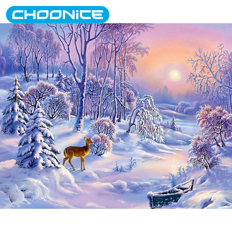 Diamond Painting Winter Deer Snowy Birch Forest Painting DIY 3D Diamond Embroidery Sunsh ...