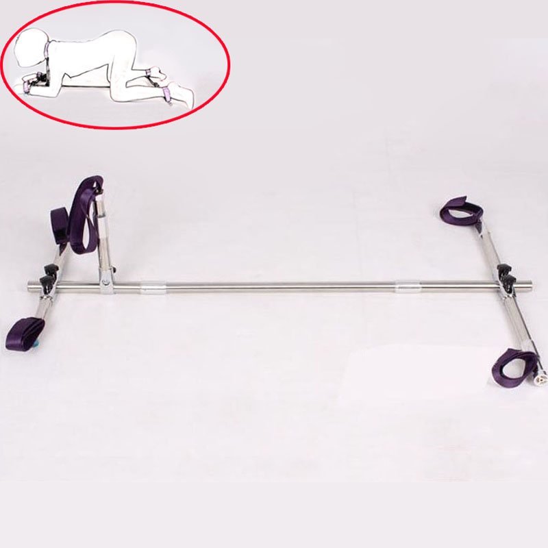 Stainless Steel Spreader Bar Adult Games Bondage Restraints Slave Bdsm Tools Neck Collar Hand Ankle Cuffs Handcuffs K9 Device stainless steel spreader bar leather harness hand ankle cuffs metal bondage restraints frame adult games sex tools for couples