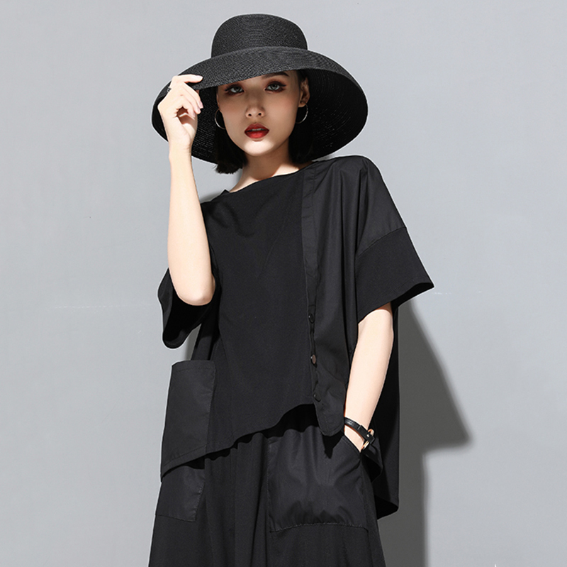 [EAM] 2020 New Spring Summer Round Neck Half Sleeve Black Button Split Joint Loose Big Size T-shirt Women Fashion Tide JX500 6