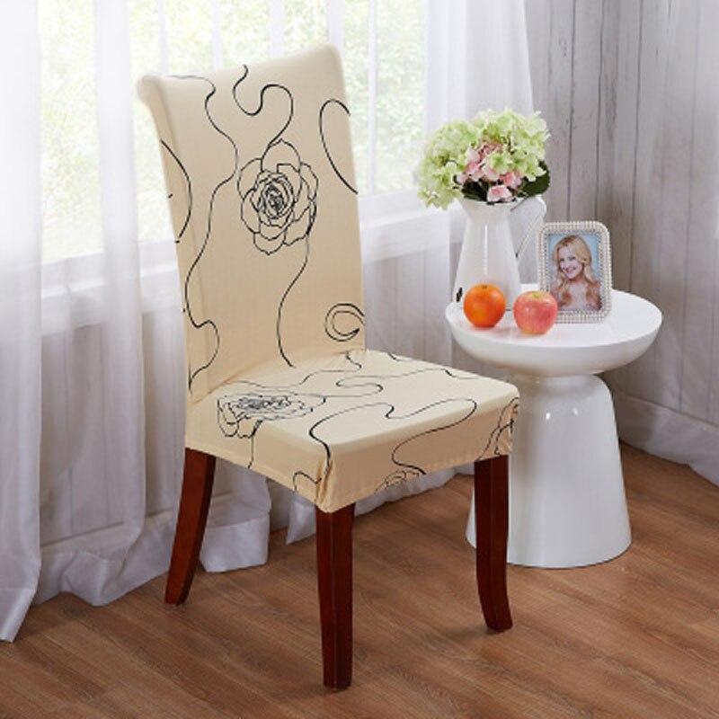 flor rosa funda silla boda stoelhoezen spandex forros couverture de sillas de comedor de mesa de