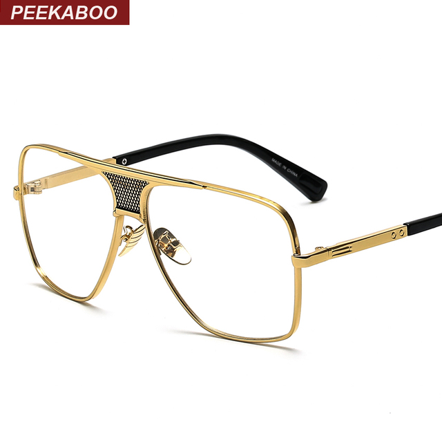 de84a0fcef512 Flat top men glasses frame branded designer big square metal gold