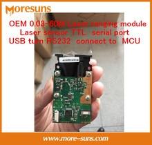 Free Ship laser distance measurement sensor TTL serial phase method USB turn RS232 connect MCU/0.03-60M Laser ranging module