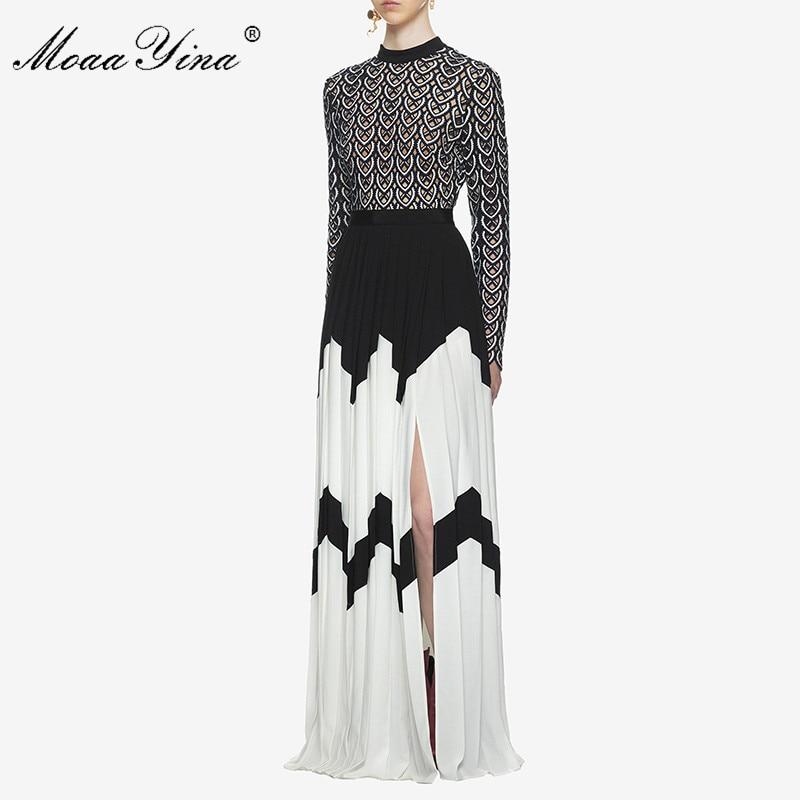 MoaaYina vestido de pasarela de diseñador de moda de verano para mujeres de manga larga cuello de pie hueco Patchwork dividido Casual fruncido Maxi vestido - 2
