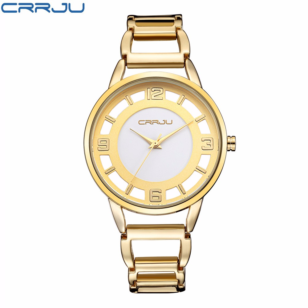 Crrju watches woman luxury brand ladies watch quartz watch casual female wristwatches stainless for Watches brands for lady