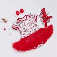 2018 Clothes Set Baby Girl Cotton Snow Short Sleeve Romper Red Tutu Dress 3 Pcs Sets