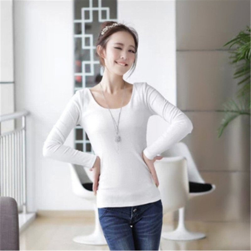 2015 Long Sleeve O Neck T Shirt Women Cotton Blend Tight -4543