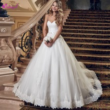 Detmgel Strapless A-Line Wedding Dress 2019 Brush Train