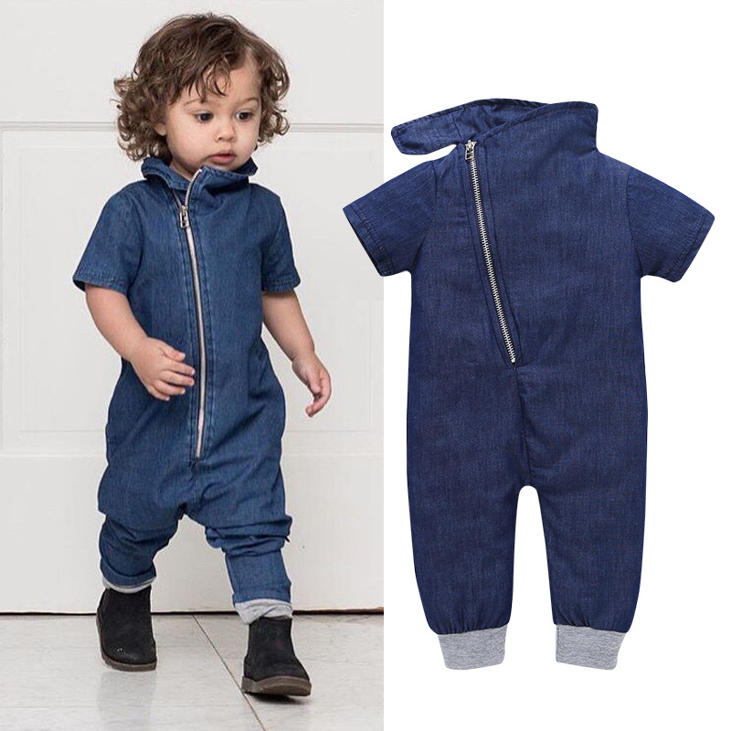 CHUYA Summer 2018 New Newborn Baby Boys Girls Romper Cowboy Jumpsuit Baby Clothes Climb Short Sleeve Spring Clothes Outfits