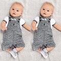 Bebê recém-nascido Do Bebê Dos Miúdos Conjuntos Cinta Básica Camisas de Manga Curta + Cinza Macacão Romper Cavalheiro 2 PCS Roupa Define Roupas