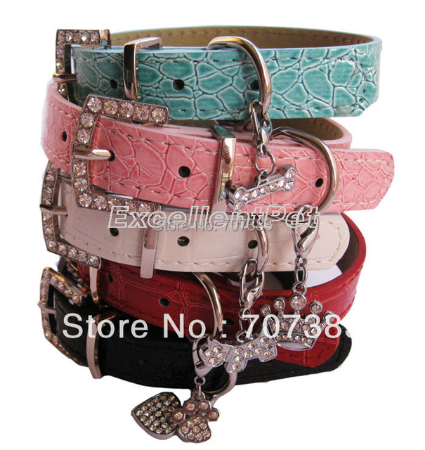 Dog Collar Bling Rhinestones Leather  S L M Pet Accessories Cat Puppy Dog Necklace Pink Red Black blue white Neck Ring