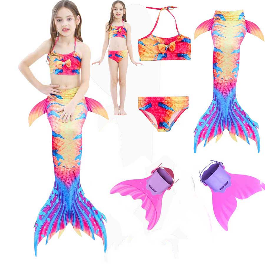 Girls Princess Mermaid Tail For Swimming Costume The Monofin Swimsuit For Walkalbe And Swimmable Mermaid Dress