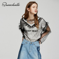 Transparent Lace Mesh Patchwork Tops Summer Sexy V Neck Long Sleeve Loose Tee Shirt Female T