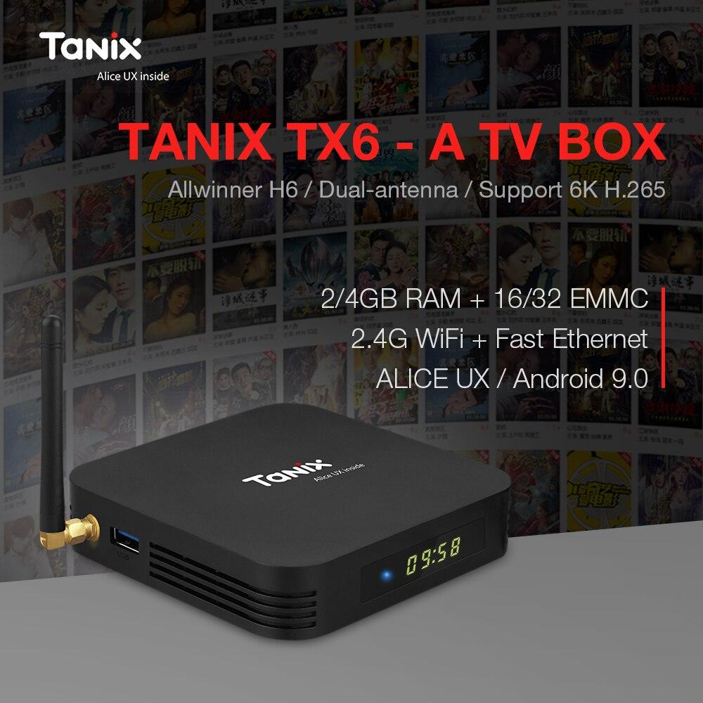 Tanix TX6-A Smart TV Box Android 9.0 Allwinner H6 Dual-antenna USB3.0 USB2.0 4G+32G 2G+16G Set Top Box 2.4G WiFi 6K H.265 BT5.0Tanix TX6-A Smart TV Box Android 9.0 Allwinner H6 Dual-antenna USB3.0 USB2.0 4G+32G 2G+16G Set Top Box 2.4G WiFi 6K H.265 BT5.0