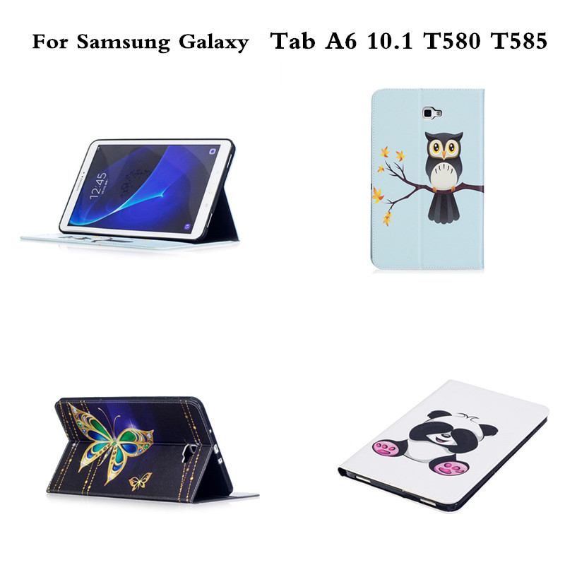 Painted PU Leather Stand Case for Galaxy Tab A6 SM-T580 T585 Tablet Protective Case For Samsung Galaxy Tab A 10.1 A6 T580 T585C fashion painted flip pu leather for samsung galaxy tab a 10 1 sm t580 t585 t580n 10 1 inch tablet smart case cover pen film
