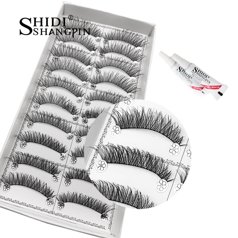 10 Pairs Natural Long False Eyelashes With Lash Gule Makeup Set Handmade Lashes Extensions Cross Soft  Winged Cilios Maquiagem