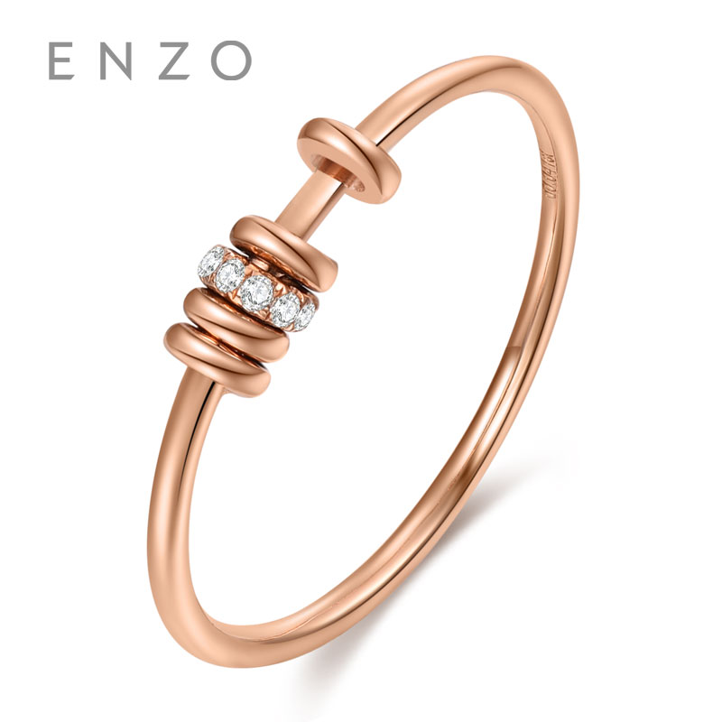 ENZO Fascinating of Milano Collections 0.02CT 10PC Diamond Rings 18K Rose Gold Rings For Womens wedding ring ...