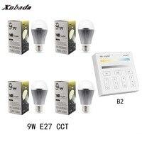 MiLight Led Lamp 9W E27 CCT(CW/WW) Led bulb + B2(3V) Panel Remote Led Spotlight light Dimmable Led light Free shipping