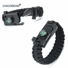 Braided Bracelet Men Multi-function Paracord Survival Bracelet Outdoor Camping Rescue Emergency Rope Bracelets For Women emak survival watch outdoor camping medical multi functional compass thermometer rescue paracord bracelet equipment tools kit