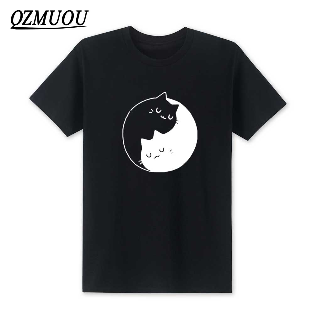 New Fashion I Work Hard So My Cat Can Have A Better Life T shirt Funny Yin Yang Real Men Love Cats Cotton Short Sleeve T-shirts