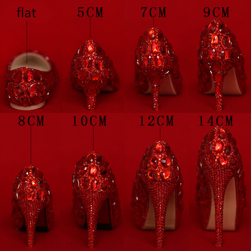 Love Moments luxury red rhinestone wedding shoes woman pointed toe high heel women s party shoes