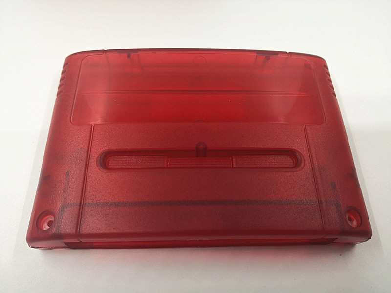 5pcs transparent red  Game Cartridge Replacement Plastic Shell For SNES game Console card 16bit game card shell JP/EU Version