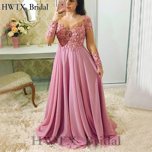 Plus Size Pink 2018 Mother Of The Bride Dresses Long Sleeve Jewel A-line  Chiffon Lace Flower Wedding Party Dress Cheap Prom Gown 95217b31ed32