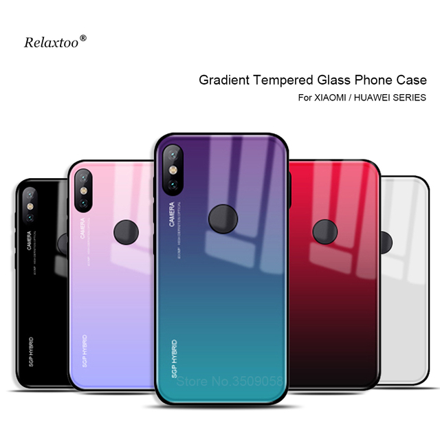 Gradient Tempered Glass phone case For xiaomi mi a1 a2 mix 2 s 6 8 se mi6 mia1 mia2 lite Cover shell Pocophone f1 f 1 Coque Capa