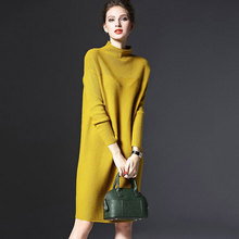 ZIYI Large Size Knitted Sweaters Dresses 2017 Autumn Winter Casual Loose Big Oversize Solid Stand Collar Long Sleeve Dress G4616