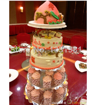 5 Tier Maypole Round Wedding Acrylic Cupcake Stand Tree Tower Cup Cake Display: Home & Kitchen wedding decoration