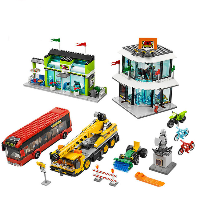 New Town Square City Blocks Crane Building Blocks Bricks Compatible Legoinglys City 60026 Educational Toys for Children Gifts