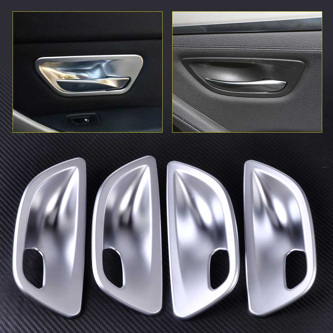 CITALL 4pcs ABS Matte Chrome Interior Door Handle Cup Bowl Cover Trim for BMW 5 Series F10 Sedan 2011 2012 2013 2014 2015 2016 6pcs abs chrome interior inner door side handle bowl cover trim for 2011 2012 2013 2014 2015 2016 porsche cayenne car styling