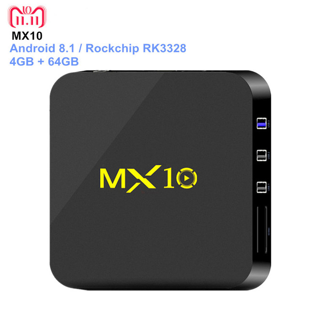 tv box android 8.1 4gb 64 gb ddr4  MX10 Smart TV BOX Android 8.1 Rockchip RK3328 DDR4 4GB Ram 64GB Rom ...