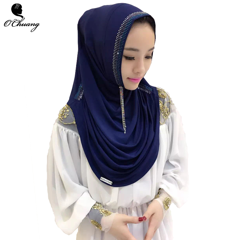 O CHUANG Modal Muslim Hijab   Scarf   Printed Instant Shawls Jersey Amira Slip On   Scarves     Wraps   Women's Headband Can Choose Color