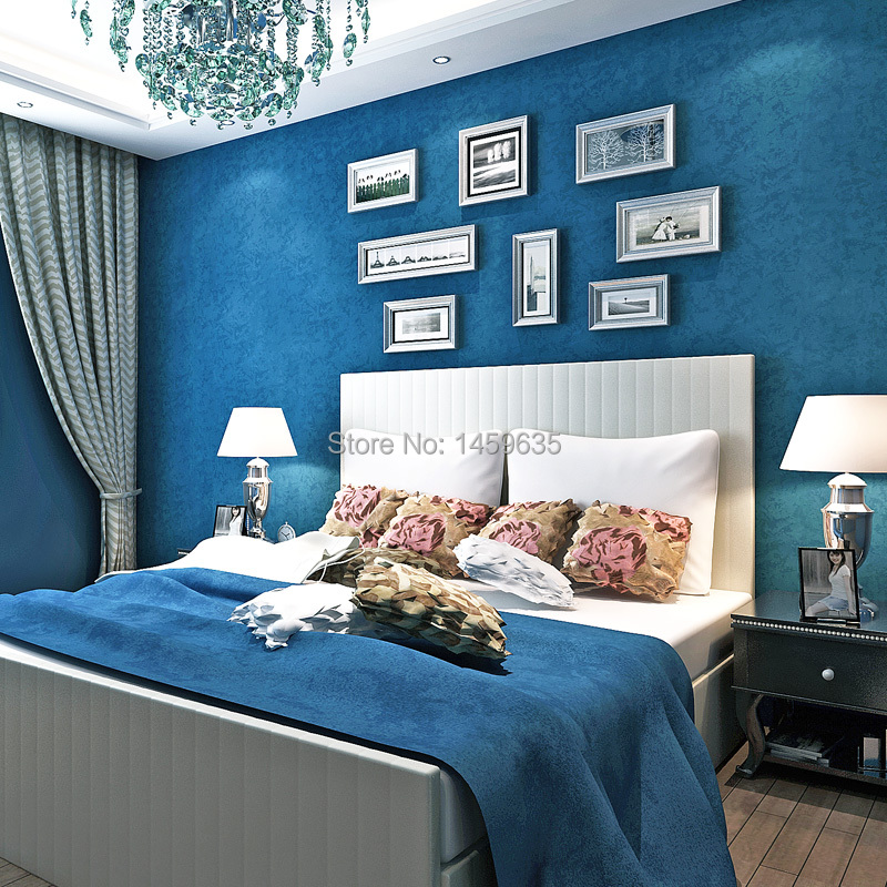 Achetez en gros plaine bleu papier peint en ligne des for Blue and white bedroom wallpaper