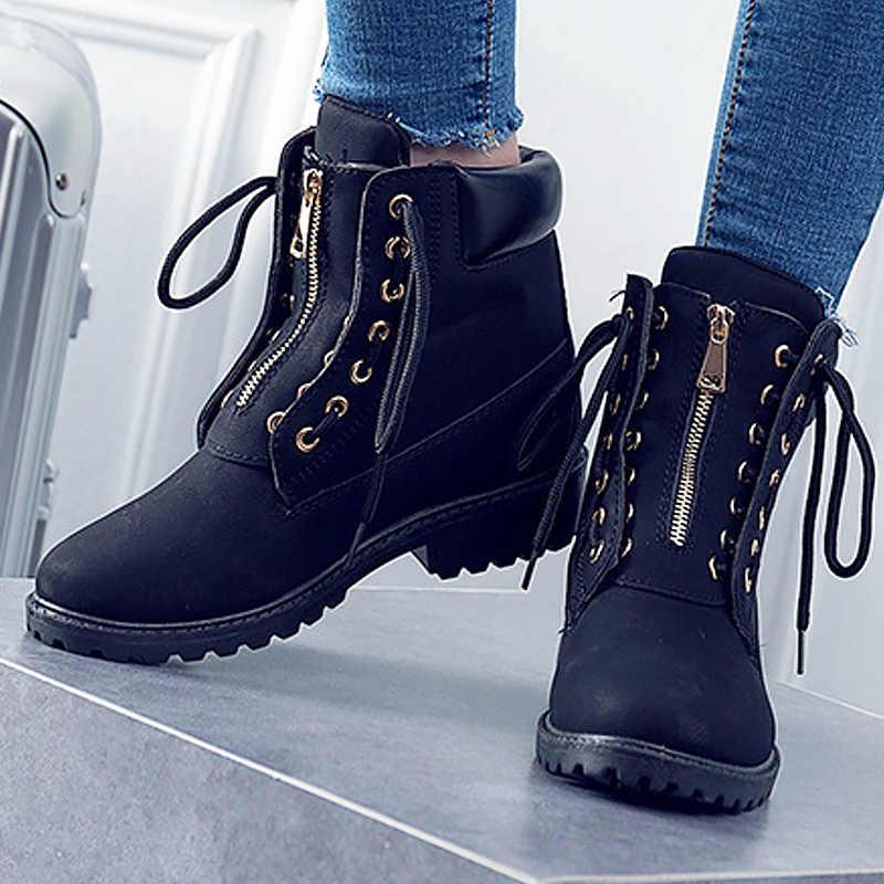 Botas de cuero para mujer a la moda ZAPATOS DE TRABAJO botas de tobillo para mujer 2019 botas de seguridad para mujer con cordones cruzados talla 36 -41