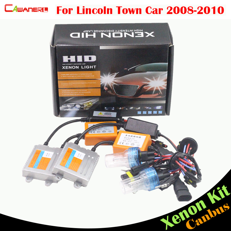 Cawanerl 55W H7 Car Canbus Bulb Ballast HID Xenon Kit AC 3000K-8000K Headlight Low Beam For Lincoln Town Car 2008-2010