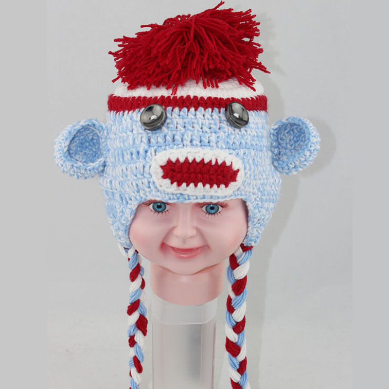 Colorful Crochet Sock Monkey Hat Pattern Model Blanket Knitting