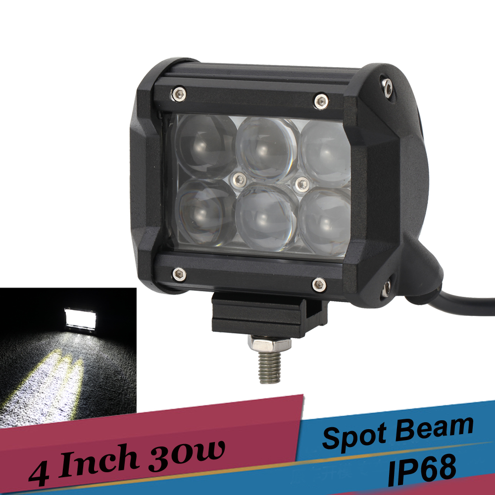 4'' LED Work Light 30w 3000lm Spot Flood Off Road Car Driving Lamp Auxiliary Fog Light for SUV 4X4 4WD ATV UTV Golf Truck Pickup 18w 5d flood spot led work light atv off road light lamp fog driving light bar for 4x4 offroad suv car truck trailer tractor 12v