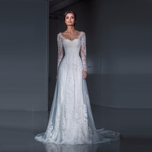 Romantic Long Sleeves Lace Wedding Dress Sheath 2017 Fairy Bridal Gown Tulle Applique Sweetheart Open Back with Train