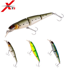 Купить с кэшбэком XTS Fishing Lure Joint Bait 3 Sections Wobblers 85mm 12g Hard Bait Depth 0m-1.0m Floating Jerkbait Artificial Hard Bait LYM23