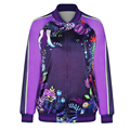 2016 New S To XL European Style Floral Women Shining Autumn Jacket Funny English Letter Print Purple Winter Sportwear Coat