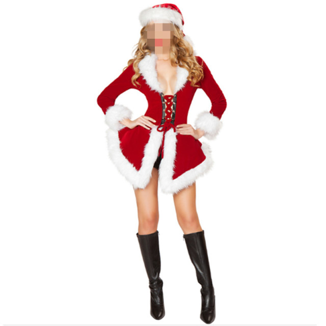 b76d29ef4 New Christmas Costumes For Women Red long sleeve Fur Velvet Santa Claus  Xmas Outfit Sexy Christmas Fancy Dress with hat