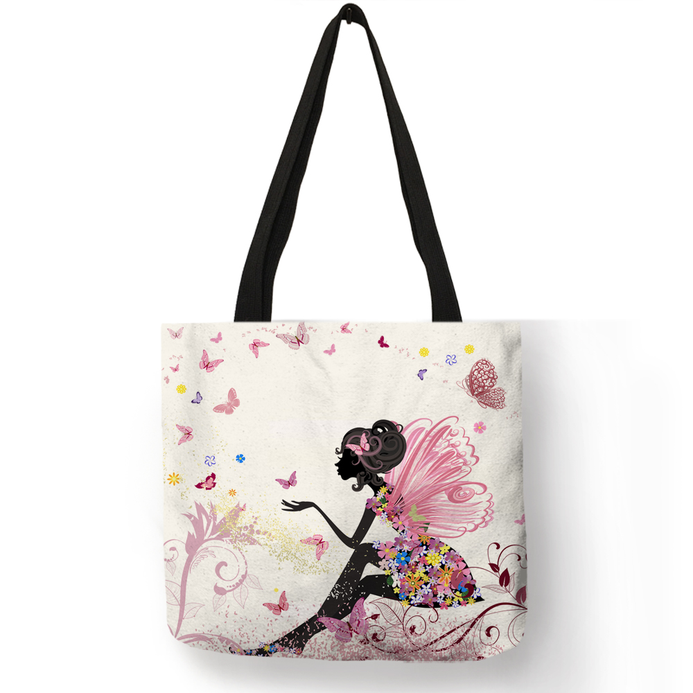 Wishing Girl Print Linen Reusable Shopping Bags Traveling Bags Women Fashion Handbags With Customized Printed
