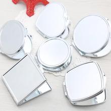 1 шт портативное женское зеркало для макияжа из нержавеющей стали, ручное карманное складное боковое косметическое зеркало для макияжа, двойное зеркало, маленькие различные формы