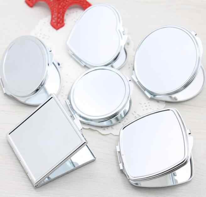 1pcs Portable Women Stainless Steel Makeup Mirror Hand Pocket Folded-Side Cosmetic Make Up Double Mirror Small Various Shapes