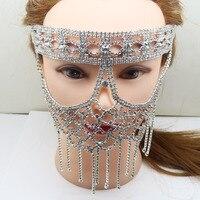 מסכת יהלומים אלגנטי יוקרה גביש מלאכותי DIY Hallowma קישוט מסכות מסכה ונציאנית מסכת ריקוד סקסי חצי פנים צד