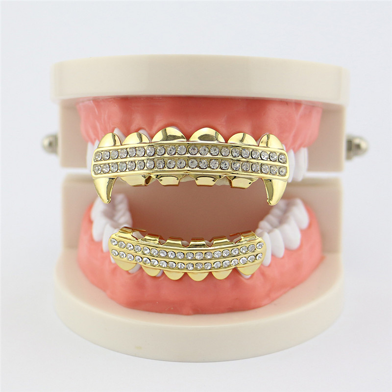 Punk Gold Zähne Grillz 2 Row Iced Out Grills Dental Hip Hop Vampir - Modeschmuck - Foto 5