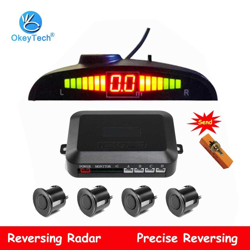 OkeyTech Auto LED Einparkhilfe 4 Sensoren Kit Auto Parktronic Reverse Backup Radar Monitor Detektor System Hintergrundbeleuchtung Display