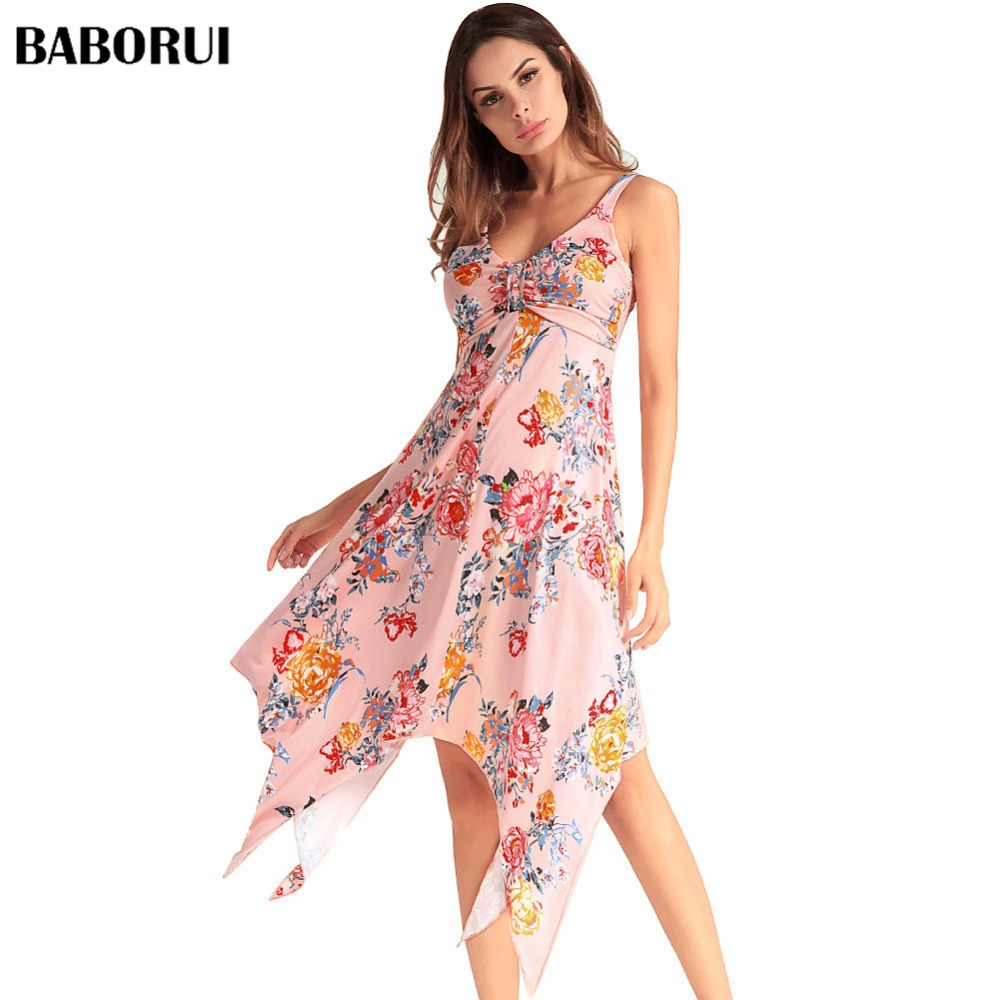 Baborui Print Floral Loose Beach Dress Prairie Chic Sexy Strap V-Neck Retro Bustier Summer Empire Mid-Calf Sleeveless Dress C1