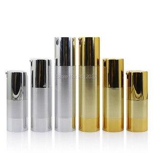 Image 1 - 500PCS Luxury Gold Silver Empty Airless Pump bottles Mini Portable Vacuum Cosmetic Lotion Treatment Travel bottle F20171524